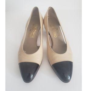 Salvatore Ferragamo 2 tone Slingback Sandals